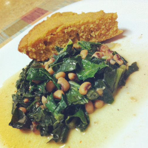 Sauteed Kale w/ Black Eyed Peas & Cornbread